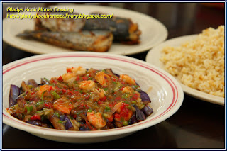 Eggplant with Chilli Prawns Home Cooking Recipe