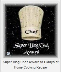 Super Chef Award for Gladys Kock Home Cooking Recipe
