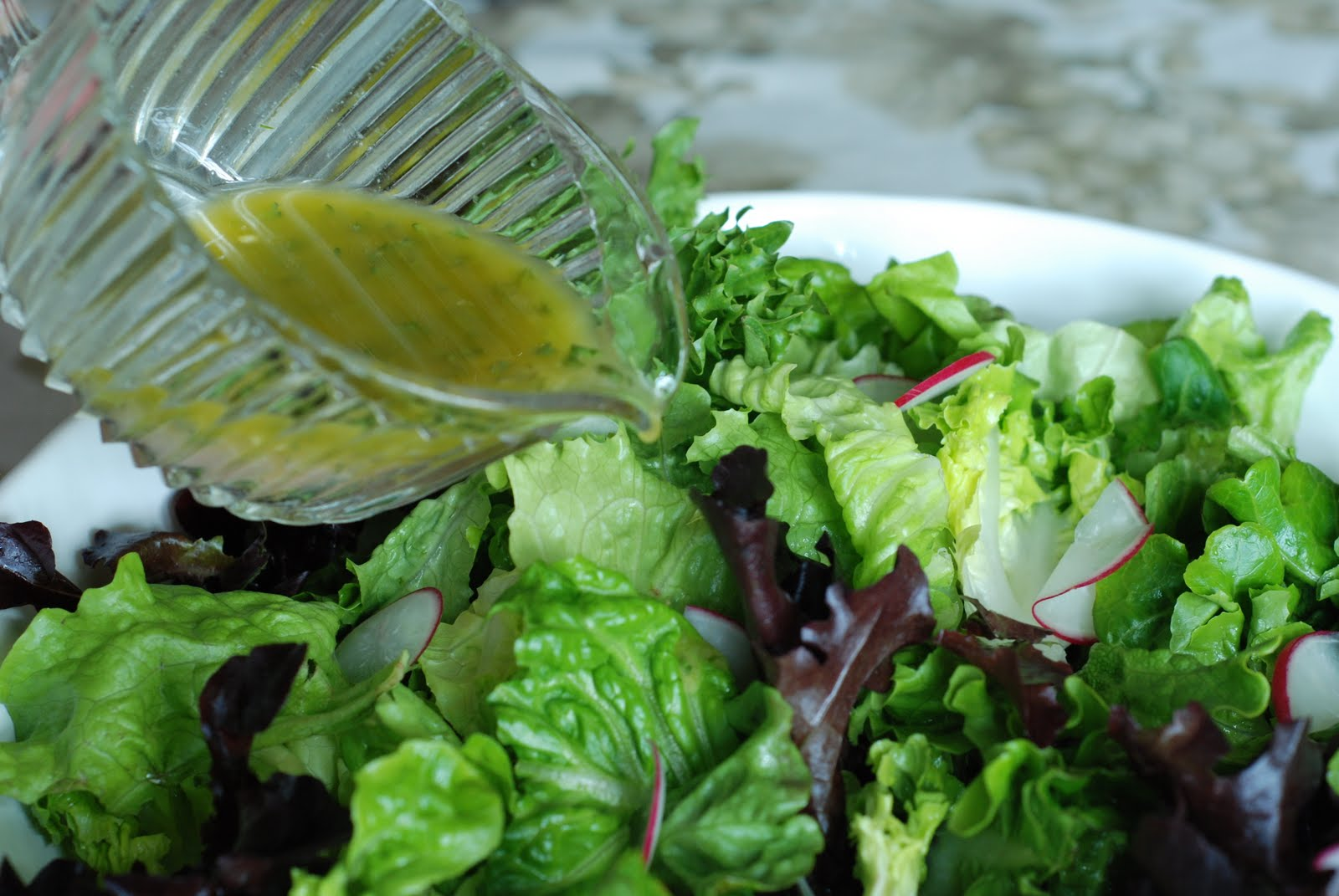 ... Good: Spring Salad with French Vinaigrette and Lemon Garlic Dressings