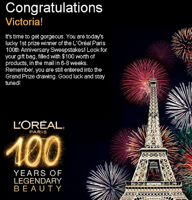 L'Oreal Paris 100th Anniversary Sweepstakes Daily Winner
