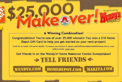 Wendy's Home Makeover Combo Instant Win Sweepstakes Winning Screenshot