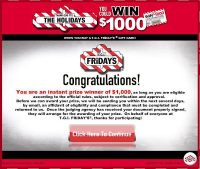 TGI Friday Everyday Holiday Gift Giveaway $1,000 Winning Screenshot$1