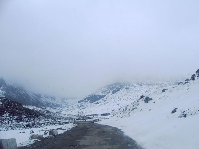 Snow covered roadsides at Sela