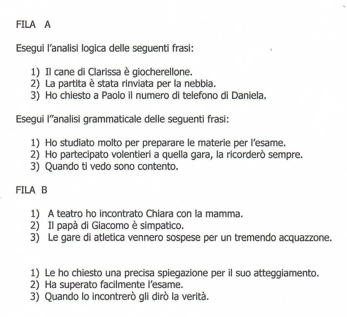 Molto Verifiche finali del II quadrimestre - Analisi logica - Analisi  SY59