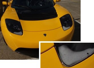 Tesla Roadster Sport with misted headlights