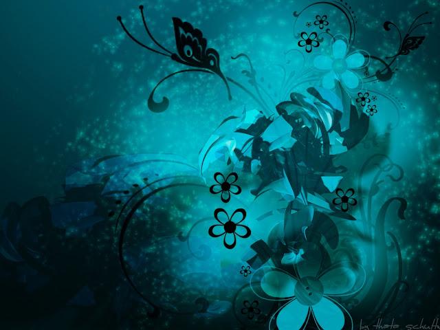 Blue Flower Art Wallpaper - free download wallpapers