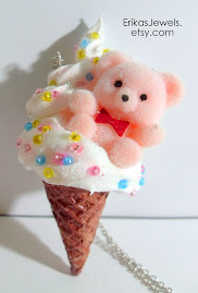 Pink Teddy Bear Ice Cream Necklace !