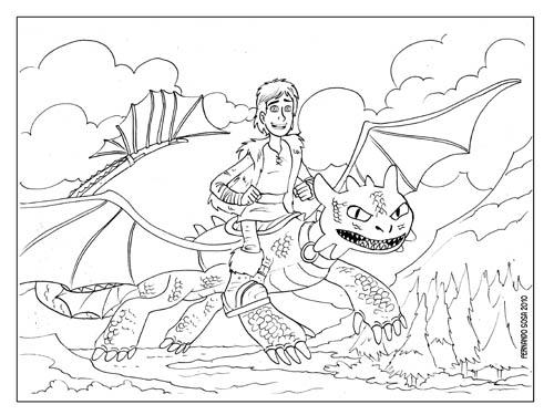 Fernando Sosa,dibujante: Como entrenar tu dragón listo para colorear