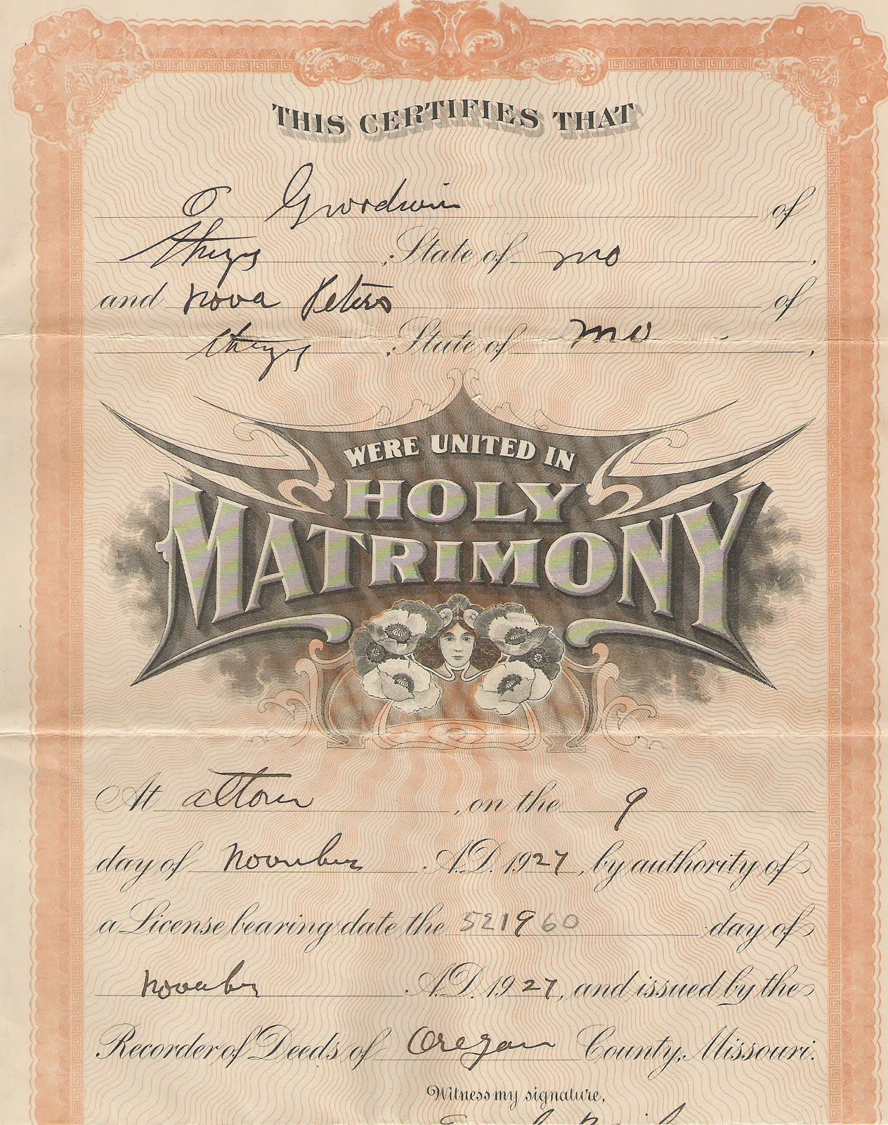 Welcome to genealogy by ginger july 2010 marriage certificate for o godwin and nova peters both of thayer missouri stating they were united in holy matrimony at alton on the 9th day of aiddatafo Choice Image