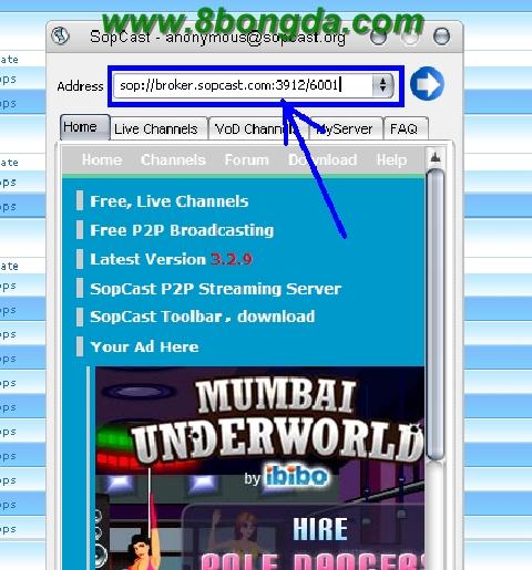 Hướng dẫn xem bóng đá trực tuyến bằng phần mềm Sopcast [Download Sopcast] Sop+5