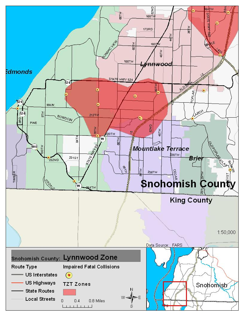 during the 2007 to 2009 period this zone had 7 impaired fatal crashes that killed 7 people five out of the seven crashes were speed related and five