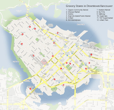 Map of grocery stores in downtown Vancouver