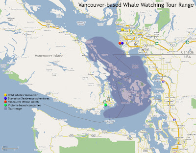 Vancouver Whale Watching Map