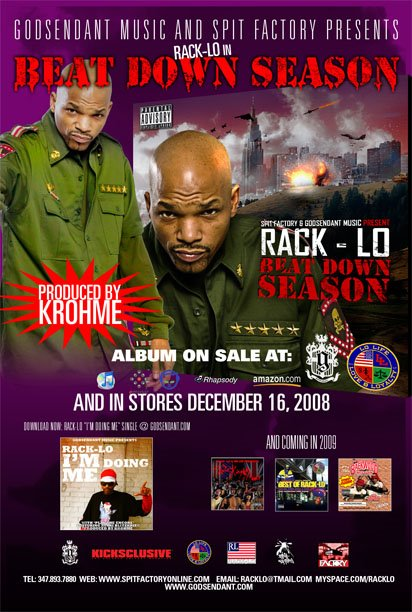 "RACK-LO ""BEAT DOWN SEASON"" NEW ALBUM COMING DECEMBER 2008, PRODUCED ENTIRELY BY:KROHME"