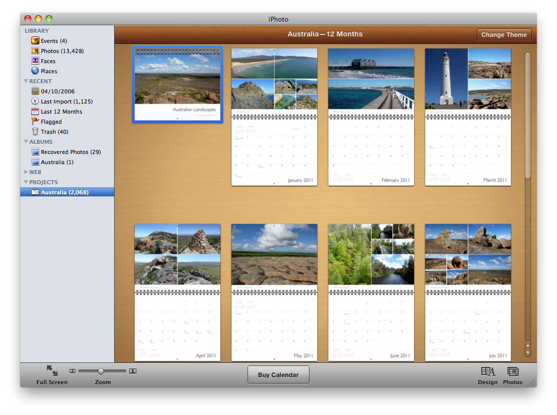 Iphoto 11 book themes for Iphoto calendar templates