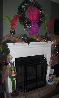Life on Old Savannah: Pink and Green Mantel and Christmas