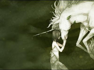 unicornio tatuaje. chica y unicornio - fantasía - mitología - animales fantásticos - niños