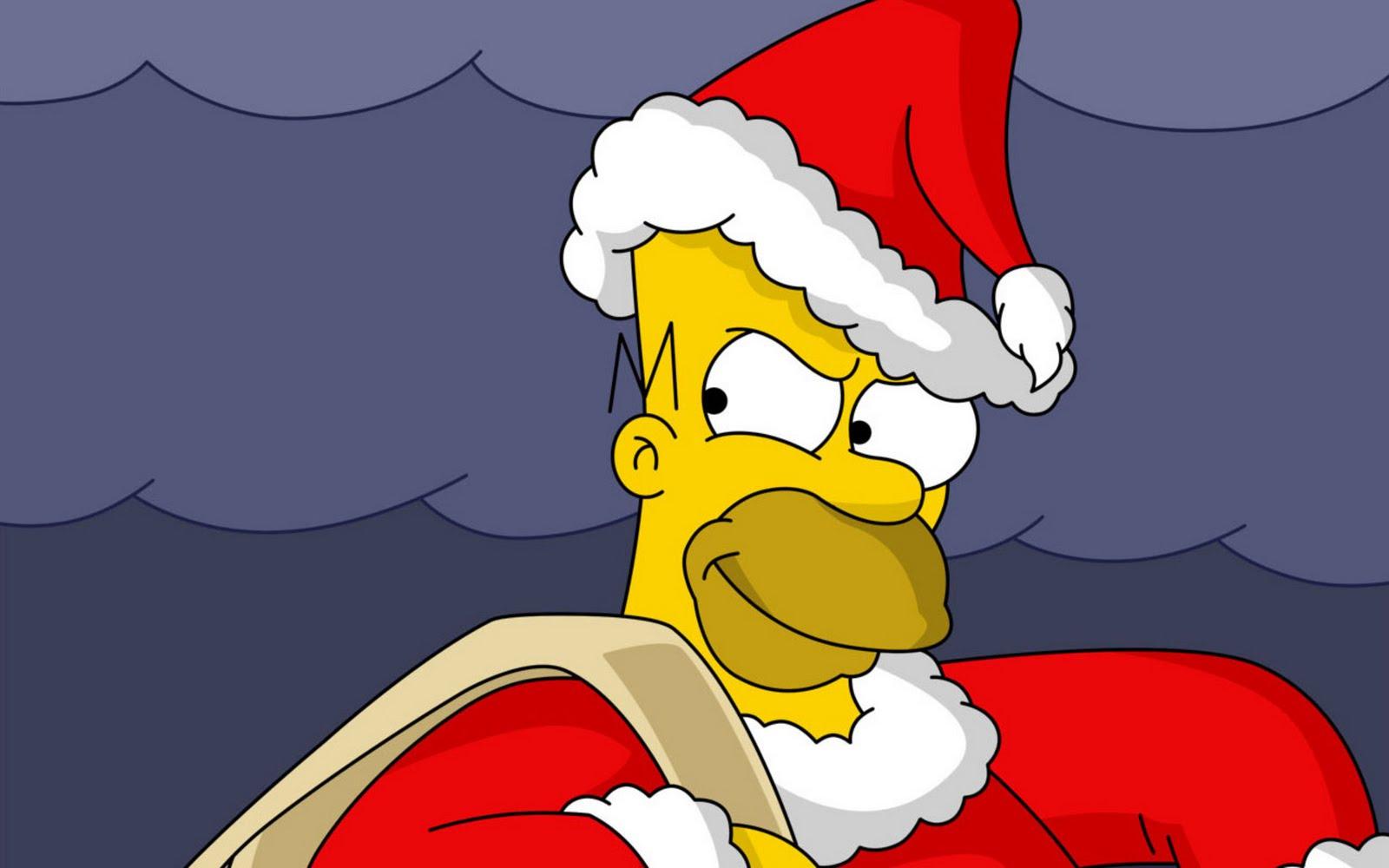 ... - Homer Simson - dibujos animados - Santa Claus - gorros - wallpaper