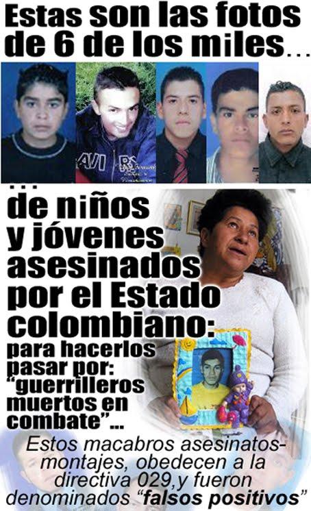"""fotos niños y jóvenes asesinados por el ejército """"Falsos Positivos"""", Crímen del Estado en Colombia"""