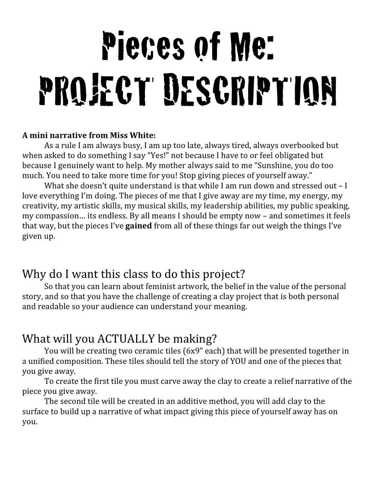 example of a project packet that includes graphic organizers