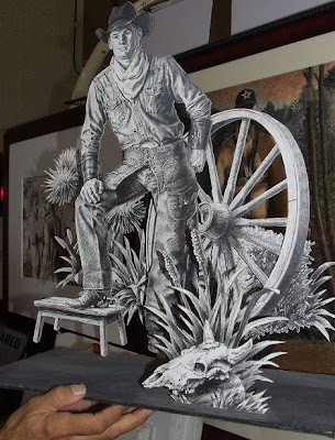 3d cowboy in cardboardcutout by Jon Gatto