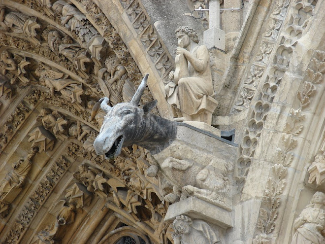 Gárgula em formato de animal, da Catedral de Reims.