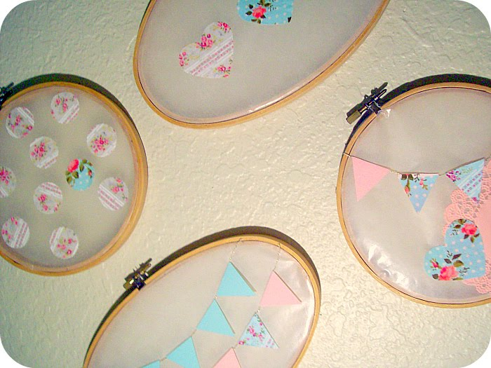 ♥ DIY Tutorial: Wax Paper Embroidery hoops wall art♥ - Free Pretty ...