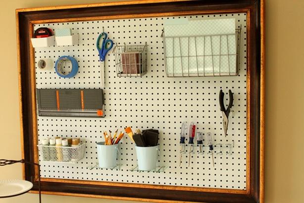 Diy ideas framed pegboard for craft room for Diy pegboard craft organizer