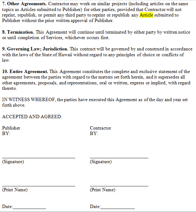 Writing agreement contract