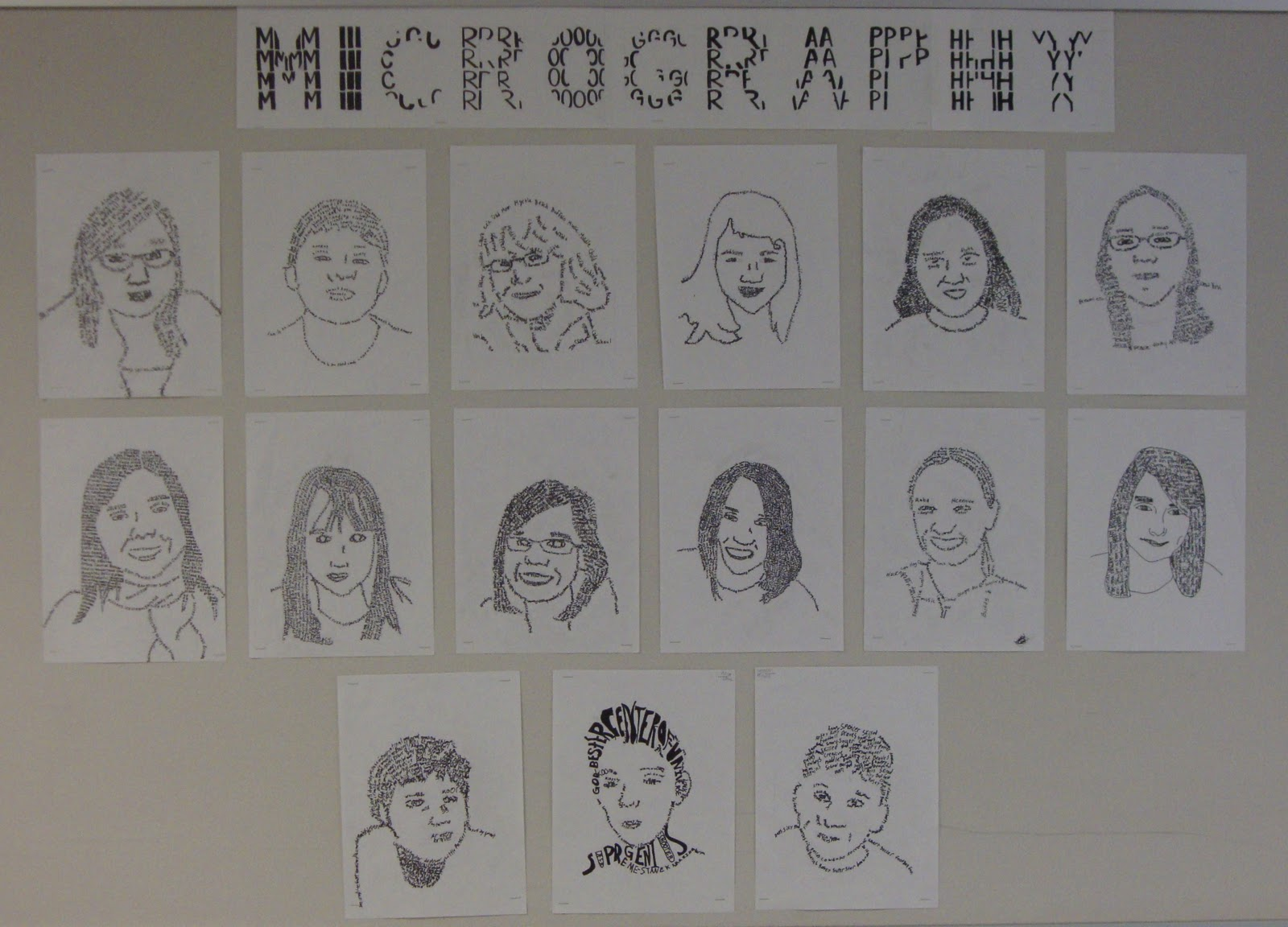 Line Project Art : Art paper scissors glue micrography portrait