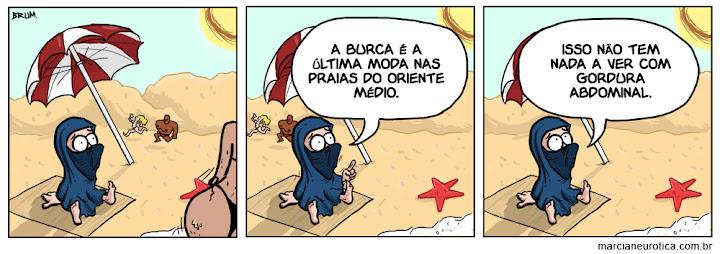 Tirinha: mulher na praia.
