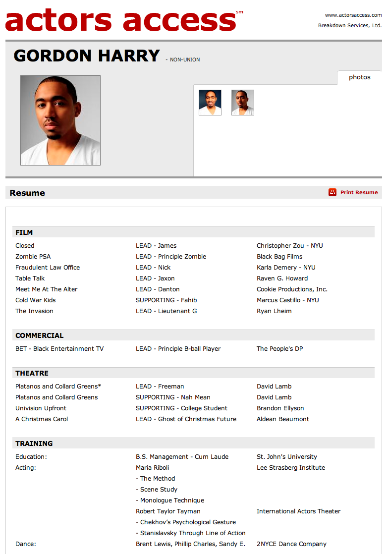 Actor Resume | New Calendar Template Site