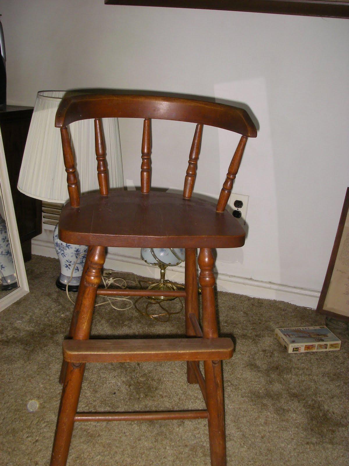 Yard sale furniture estate sale old high chair for Furniture yard sale