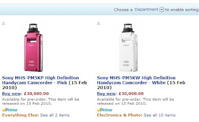 Pricing of Sony MHS-PM5K on Amazon.co.uk, £30,000 is unlikely to be the final price!