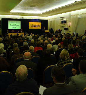 Delegates crowded in to hear Alliance leader David Ford&#39;s speech
