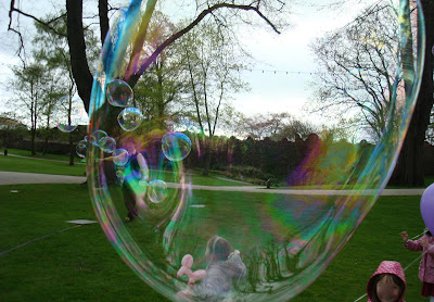 Blowing bubbles in Lisburn's Castle Gardens