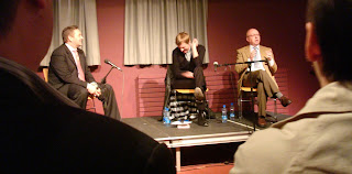William Crawley interviewing authors Glenn Patterson and David Park at the 2008 Belfast Festival