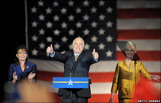 Palin on stage during McCain's concession speech (c) BBC