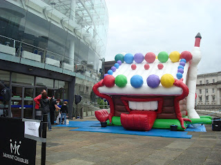 Musical bouncy castle outside Belfast's Waterfront Hall