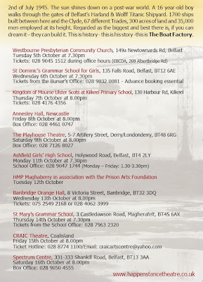 October 2010 tour dates for The Boat Factory play