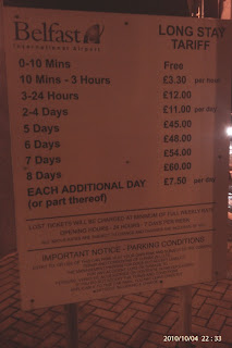Long term car park tariff sign at Belfast International Airport