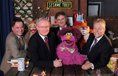 Launch of the second series of Sesame Tree - Darren Kidd/Presseye.com - Pictured with Hilda, Potto and Archie from Sesame Tree are from left to right: Richard Williams, Chief Executive Northern Ireland Screen; Martin McGuinness, Deputy First Minister; Peter Robinson, First Minister; and Denis Rooney CBE, Chairman, International Fund for Ireland.