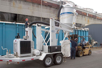 Res-Kem trailer mounted vacuum for removing virtually all ion exchange and filtration media.