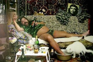 homem, barba, folgado, tranquilo, relaxar