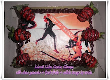 Choc Ganache Cake + fresh fruit with edible image