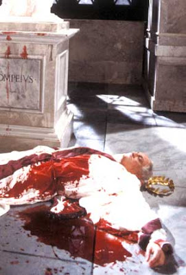 Ceasar's death scene reenactment photo is published this date on the BBC's 'Shakespeares 60-Second Times' pseudo-newspaper at http://www.bbc.co.uk/drama/shakespeare/60secondshakespeare/themes_juliuscaesar.shtml