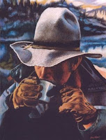 Western Novel blog article with Cowboy drinking coffee