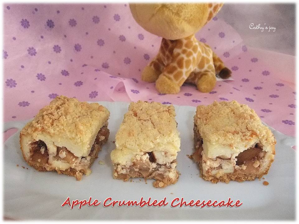 soft cheesecake with crunchy toppings & biscuit base. I love the apple ...