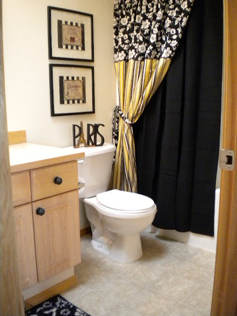 black white and... Yellow And Black Bathroom