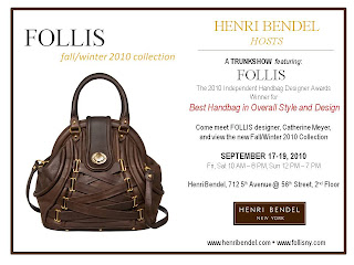 FOLLIS handbags trunk show at Henri Bendel, 9/17-19 in NYC! featured on Shopalicious.com